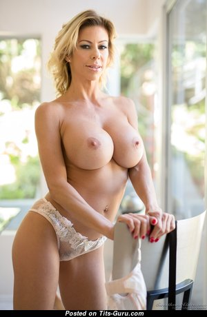 Alexis Fawx - Lovely Topless American Escort Blonde Mom & Pornstar with Lovely Naked Round Fake C Size Tots & Erect Nipples in Lingerie, Stockings, High Heels & Panties (Hd Sexual Photoshoot)