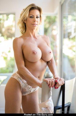 Alexis Fawx - Beautiful Topless American Escort Blonde Pornstar & Mom with Beautiful Nude Round Fake Titties & Inverted Nipples in High Heels, Panties, Lingerie & Stockings (Hd Sex Image)