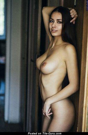 Naked hot girl with medium natural boobs image