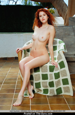 Adel C - Beautiful Topless Red Hair Babe with Beautiful Defenseless Real Small Boobies (18+ Pix)