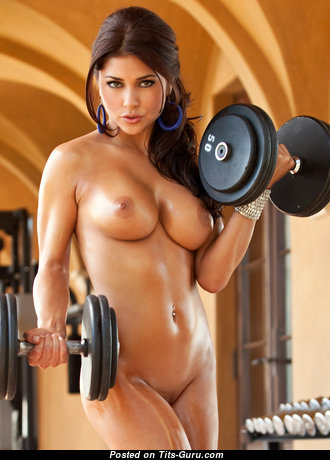 The Best Topless Brunette Babe with The Best Open Real Boobs is Doing Fitness (Hd Xxx Pic)
