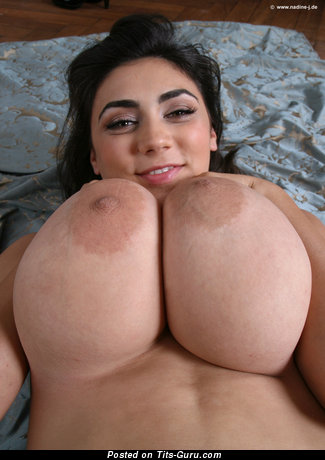 Alexya - Amazing Topless Brunette Babe with Amazing Bare Real Great Jugs (Hd Sexual Wallpaper)