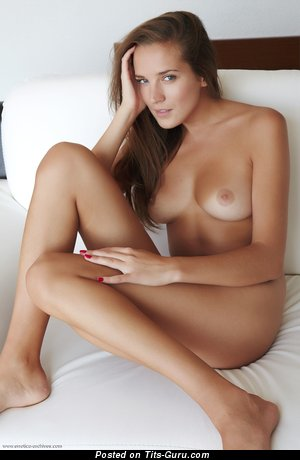 Image. Nude brunette with medium natural tittys pic