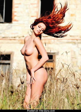 Image. Red hair with natural breast pic