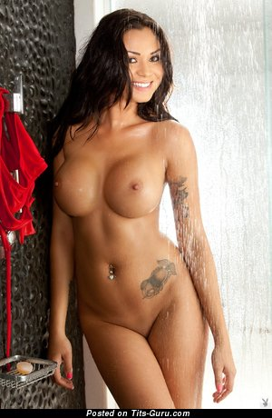 Jennie Reid - naked brunette with big fake tits image