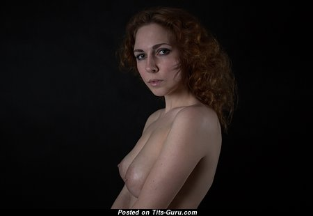 Анастасия - Wonderful Red Hair with Wonderful Bald Natural Regular Balloons, Large Nipples, Piercing (Hd Sexual Wallpaper)