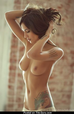 Image. Sexy topless amateur brunette with small natural tits photo