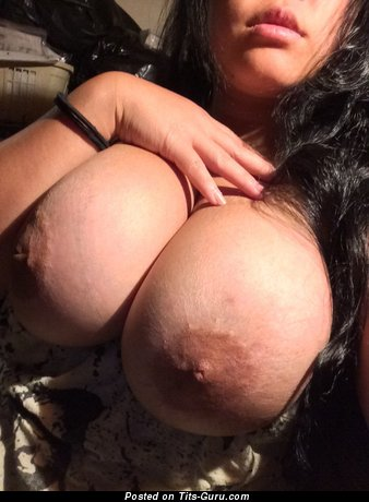 Sweet Topless Dish with Marvelous Naked H Size Melons & Inverted Nipples (on Public Selfie Hd Sexual Pix)