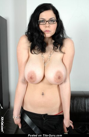Hot Brunette Babe & Nerd with Hot Naked Big Sized Busts (Hd Porn Pic)