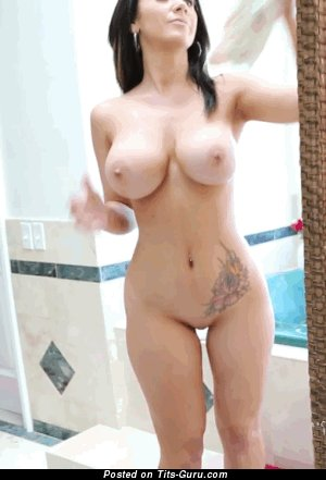 Nude brunette with medium boobies and tattoo gif
