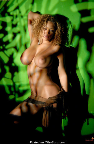 Naked ebony with big tittes image