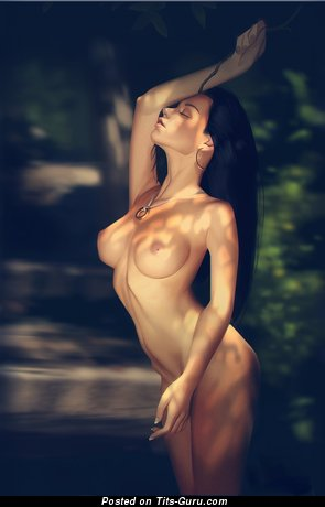Image. Naked brunette with big boobies picture