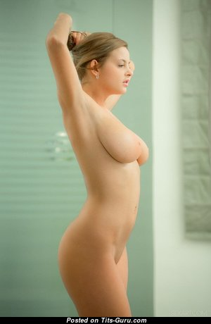 Alluring Glamour & Topless Blonde with Alluring Bald Natural Mid Size Tits & Weird Nipples (Xxx Image)