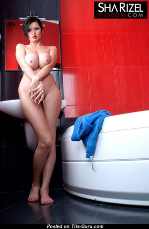 Sha Rizel - Graceful Glamour & Topless Ukrainian Brunette Babe with Graceful Open Mammoth Boobie in the Shower (Hd Sex Picture)