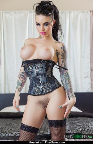 Christie Mack - Elegant Brunette Babe with Elegant Naked Fake Medium Sized Jugs (Sexual Picture)