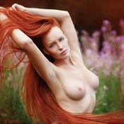 Topless red hair with medium natural breast picture