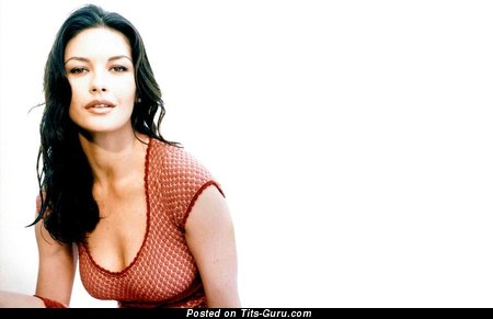 Catherine Zeta Jones - Pleasing Non-Nude British, Welsh Brunette Babe & Actress with Pleasing Natural Dd Size Chest (18+ Photo)