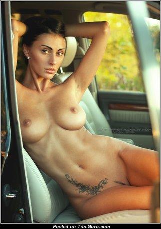 Yulia Pilushka Androschuk - Appealing Russian Brunette with Appealing Defenseless Natural Regular Jugs & Tattoo (Porn Image)