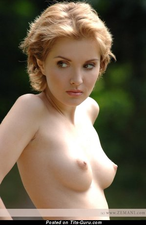 Sexy naked blonde with small natural boobs photo