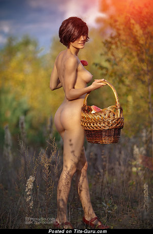 Image. Naked beautiful girl with medium natural tots photo
