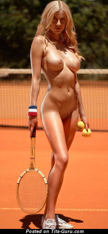 Olga De Mar - Delightful Glamour & Topless Playboy Blonde with Delightful Nude Med Tittes & Sexy Legs is Playing Tennis & Doing Fitness (Hd Sexual Pix)
