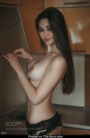Fine Asian Brunette Babe with Fine Naked Natural Regular Hooters (Sex Pic)