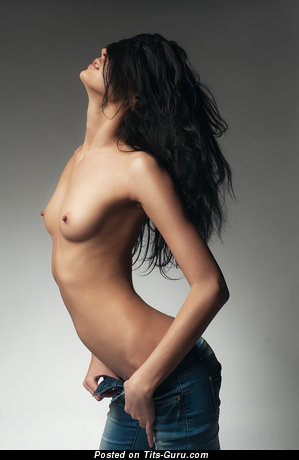 Image. Nude brunette with small natural boob photo