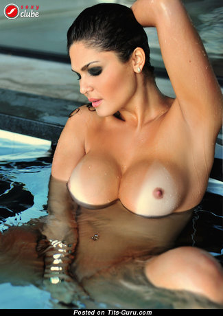 Image. Sharon Weber - wet nude brunette with big fake tittys picture