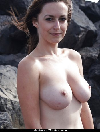 Karly - Exquisite Topless Girlfriend with Exquisite Exposed Natural Tittys & Giant Nipples on the Beach (on Public Voyeur Hd Sex Photo)