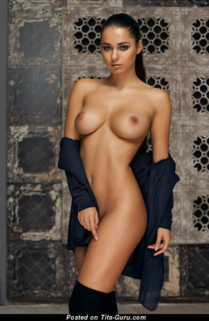 Helga Lovekaty - sexy topless brunette with medium natural tittes and big nipples pic
