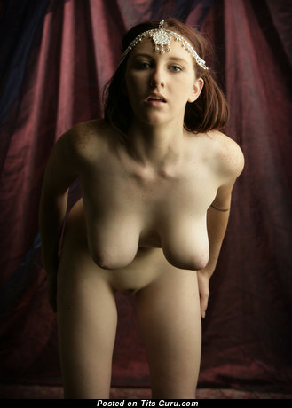 Image. Sarah - brunette with big natural tots and big nipples image