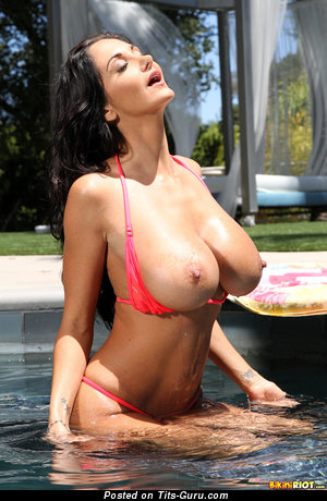 Ava Addams: wet naked brunette with big tits & big nipples photo