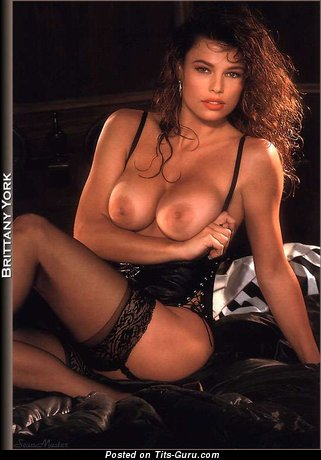 Brittany York - Pleasing American Playboy Brunette Babe with Pleasing Open C Size Titties (Vintage Porn Foto)