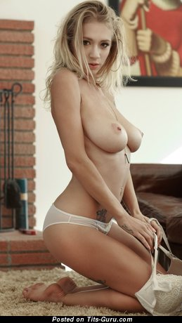 Natasha Legeyda - Grand Russian Blonde Babe with Grand Nude Natural C Size Boobs, Sexy Legs, Tattoo & Piercing in Panties (Hd Porn Photo)