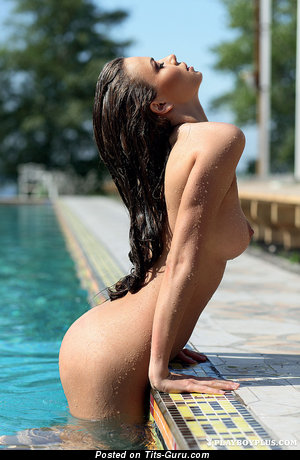 Exquisite Wet Brunette with Exquisite Bald Real Paltry Tit in the Pool (Hd Porn Picture)