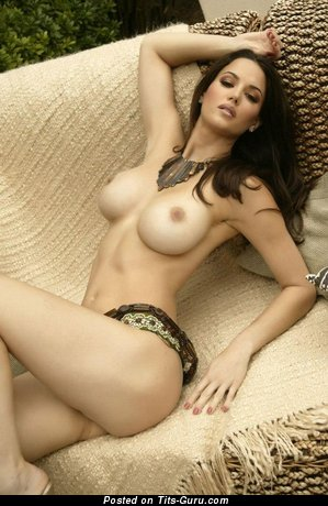 Image. Sexy naked brunette with big fake tittys photo