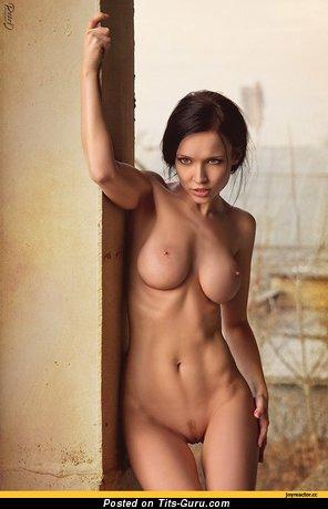 Изображение. Фотография красивой обнажённой тёлки с большими дойками