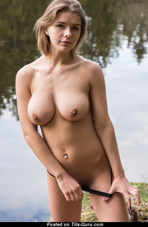 Yelena - naked brunette with big natural tittes and big nipples picture
