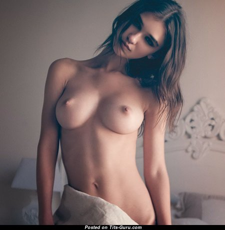 Charming Glamour Brunette with Charming Bare Mid Size Tots (Hd Sexual Picture)