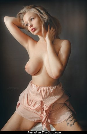 Elizaveta Barysheva - Awesome Blonde Babe with Awesome Bald Real Med Tittys (Sexual Image)