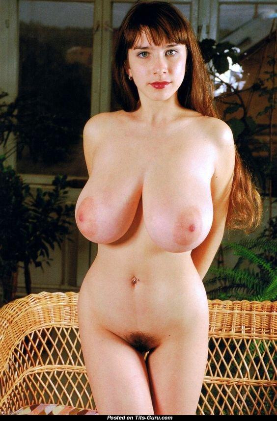 Nude in flip flops