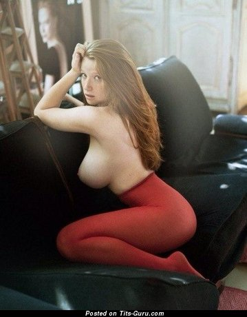 Image. Naked red hair with big natural tits pic