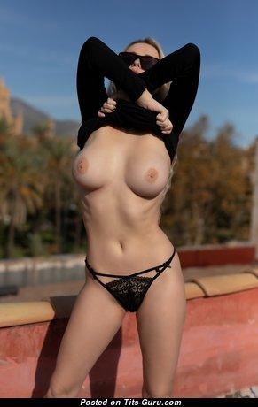 Ekaterina Enokaeva - Splendid Unclothed Russian Blonde with Giant Nipples in Panties (Hd Porn Image)