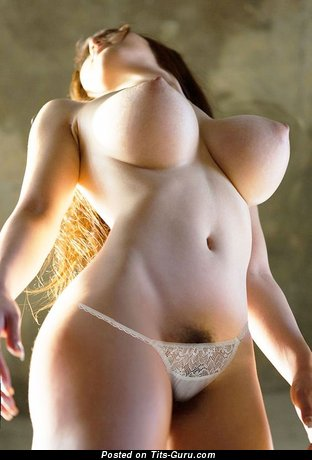 Awesome Topless Asian Brunette Babe with Awesome Exposed Normal Busts & Huge Nipples is Undressing (Sexual Photoshoot)