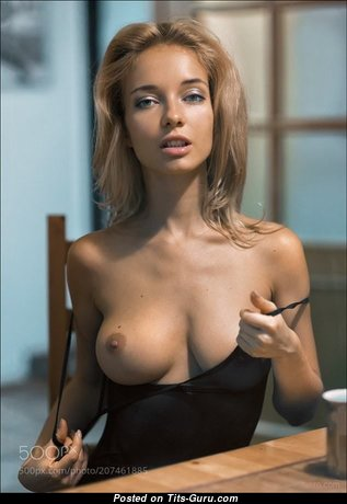 Lovely Non-Nude Blonde with Inverted Nipples in Lingerie is Undressing (Xxx Image)