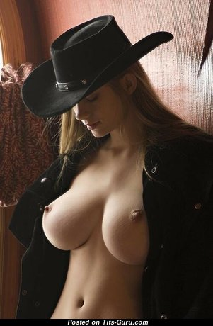 Fine Topless Cowgirl & Babe with Fine Bald Natural Regular Balloons & Long Nipples (Sex Pix)
