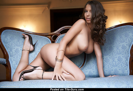 Avia - Nice Topless & Glamour Brunette with Big Nipples in High Heels (Sexual Image)