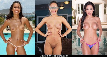 Image. Amia Miley - naked brunette with big fake boob image