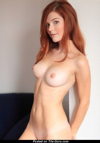 Image. Sexy topless amateur red hair with medium natural tittes picture