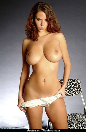 Cute Topless Red Hair with Cute Nude Natural Med Boobies & Sexy Legs in Panties is Undressing (Sexual Photoshoot)